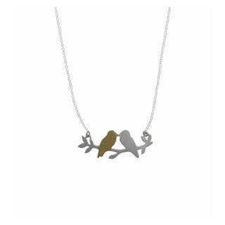 Boma by Pearlyta Matte Gold-over-silver Kissing Birds on Branch Necklace