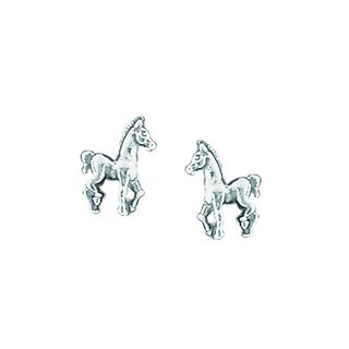 Pearlyta Boma White Sterling Silver Little Horse Stud Fashion Earrings