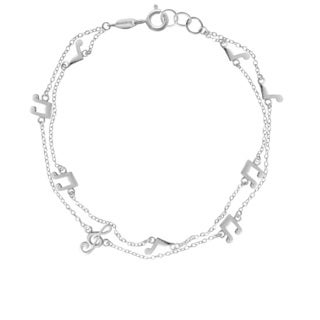 Pearlyta Boma White Sterling Silver Musical Note Chain Bracelet