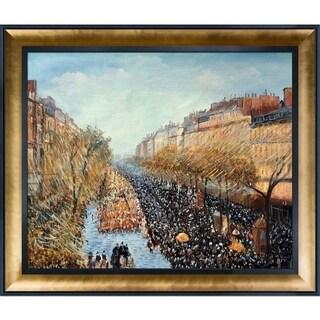 Camille Pissarro 'Boulevard Montmartre, Mardi Gras' Hand Painted Framed Canvas Art