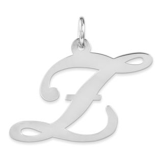 Versil White Sterling Silver Large Fancy Script Initial Z Charm with 18-inch Chain