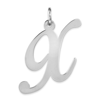 Versil White Sterling Silver Large Fancy Script Initial x Charm with 18-inch Chain