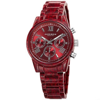 Akribos XXIV Women's Swiss Quartz Multifunction Red Bracelet Watch with FREE Bangle
