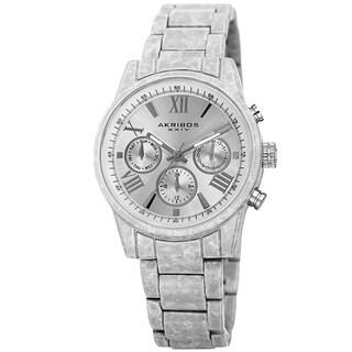 Akribos XXIV Women's Swiss Quartz Multifunction White Bracelet Watch with FREE Bangle