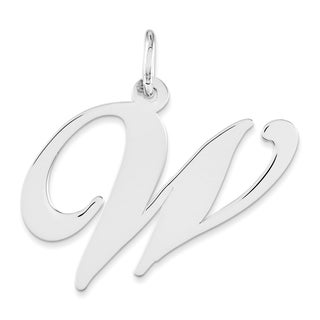 Versil Sterling Silver Script Initial W Charm Necklace