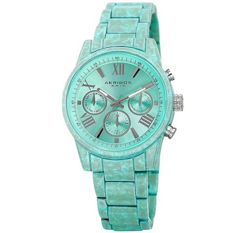 Akribos XXIV Women's Swiss Quartz Multifunction Turquoise Bracelet Watch