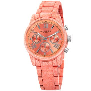 Akribos XXIV Women's Swiss Quartz Multifunction Peach Bracelet Watch with FREE GIFT|https://ak1.ostkcdn.com/images/products/12024584/P18898870.jpg?impolicy=medium