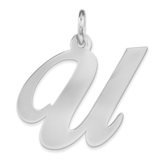 Versil Sterling-silver Large Fancy-script Initial 'U' Charm with 18-inch Chain