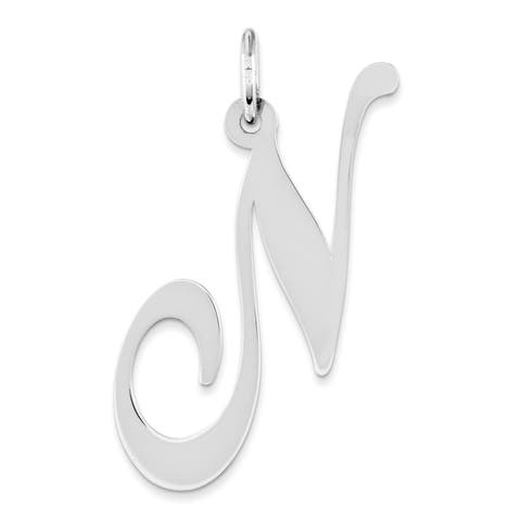 Versil Sterling Silver Large Fancy Script Initial N Charm with 18-inch Chain - White