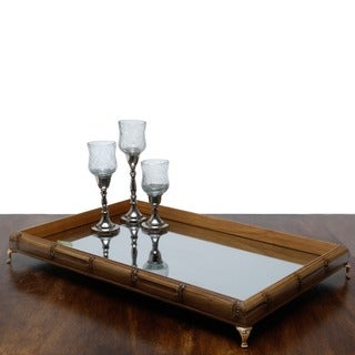 Woodart Beige Wood Bamboo-style Tray with Mirror and Goldtone Foot