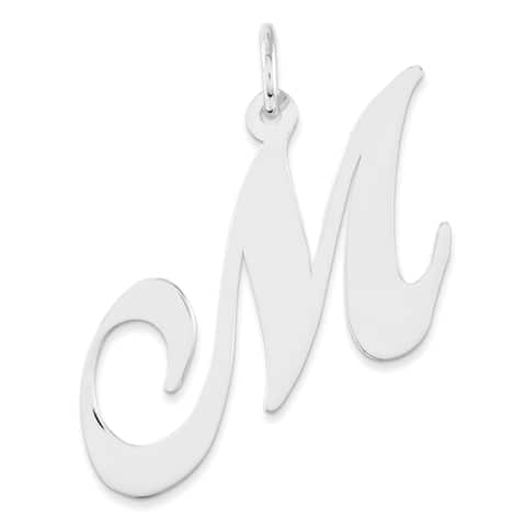 Versil SS Large Fancy Script Initial 'M' Charm with 18-inch Chain