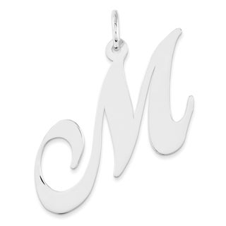 Versil Sterling Silver Large Fancy Script Initial 'M' Charm with 18-inch Chain