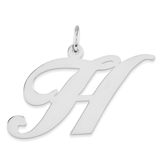 Versil Sterling Silver Large Fancy Script Initial 'H' Charm with 18-inch Chain