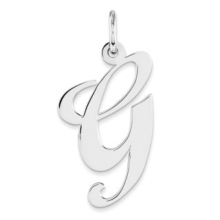 Versil White Sterling Silver Large Fancy Script Initial G Charm with 18-inch Chain