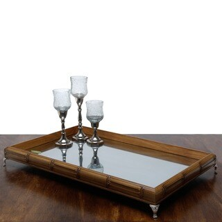 Woodart Beige Wood Bamboo-style Tray with Mirror and Nickel Foot