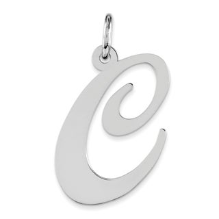Versil Sterling Silver Large Fancy Script Initial C-charm With 18-inch Chain