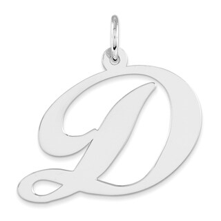 Versil Sterling Silver Fancy Script D Initial Charm with 18-inch Chain