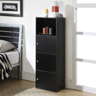 Porch & Den Bywater St. Claude Black Wood 3-door Storage Cabinet