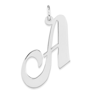 Versil Sterling Silver Large Fancy Script Initial A-charm with 18-inch Chain