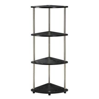 Convenience Concepts Designs2Go Black Steel/Wood 4-tier Corner Shelf (Option: Black)