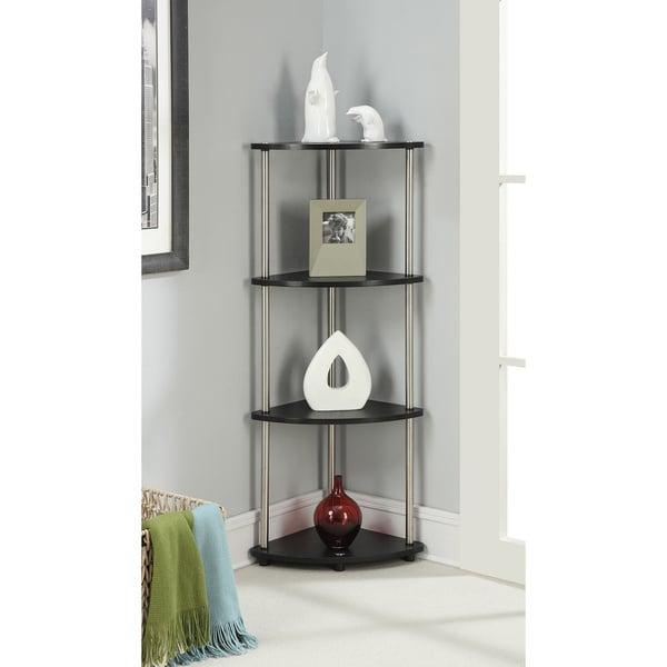 Shop Convenience Concepts Designs2go Black Steel Wood 4 Tier Corner Rh Overstock Com Shelf