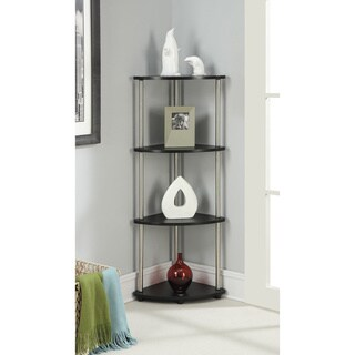 Convenience Concepts Designs2Go Black Steel/Wood 4-tier Corner Shelf
