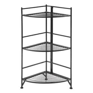 Convenience Concepts Designs2Go 3-tier White/Black Metal Folding Corner Shelf