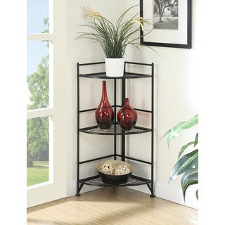 Convenience Concepts Designs2Go 3-tier White/Black Metal Folding Corner Shelf