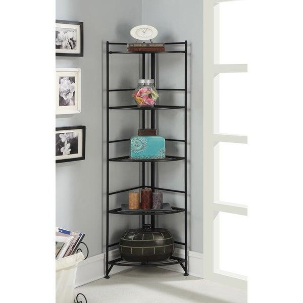 Convenience Cocepts Designs 2 Go Metal 13.75-inch x 13.75-inch x 58-inch 5-tier Folding Corner Shelf