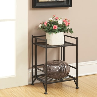 Convenience Concepts Designs2Go Black Metal 2 Tier Folding Metal Shelf