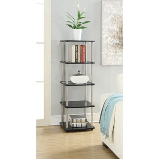 Convenience Concepts Designs 2 Go Black Wood and Metal 5-tier Media Tower