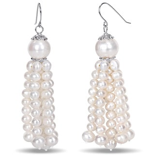 Miadora Sterling Silver White Cultured Freshwater Pearl Tassel Earrings (4.5-11 mm)