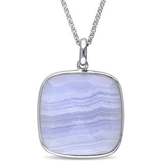 Miadora Sterling Silver Blue Lace Agate Square Necklace