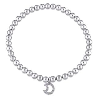 Miadora Sterling Silver Beaded Moon Charm Bracelet