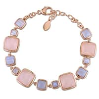 Miadora Rose Plated Sterling Silver Square-cut Blue Lace Agate and Rose Quartz Station Bracelet