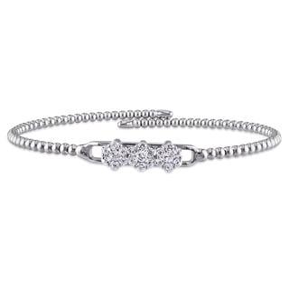 Miadora Sterling Silver White Topaz Beaded Bangle Bracelet