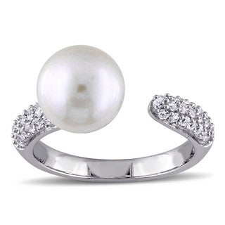 Miadora Sterling Silver Cultured Freshwater Pearl and White Sapphire Open Ring (9-9.5 mm)