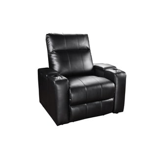 RowOne Plaza Black Bonded Leather 2-arm Power Recliner