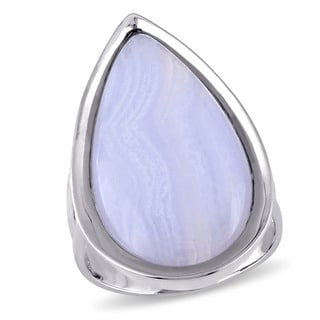 Miadora Sterling Silver Pear-cut Blue Lace Agate Teardrop Cocktail Ring