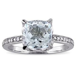 Miadora 10k White Gold Cushion-cut Aquamarine and Diamond Accent Cocktail Ring (G-H, I2-I3)