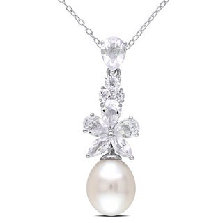 Miadora Sterling Silver Cultured Freshwater Pearl and White Topaz Drop Necklace (9.5-10 mm)