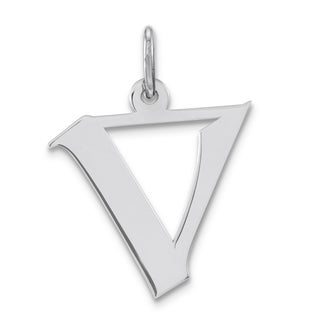 Versil Sterling Silver Medium Artisan Block Initial V Charm with 18-inch Chain