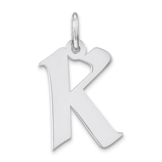 Versil Sterling Silver Artisan Block Initial K Charm Necklace