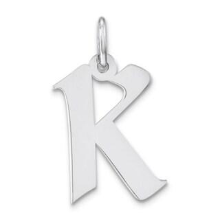 Versil Sterling Silver Artisan Block Initial K Charm Necklace