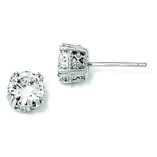 Versil Cheryl M Sterling Silver Cubic Zirconia Stud Earrings