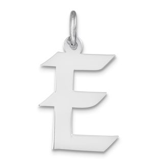 Versil Sterling Silver Medium Artisan Block Initial E Charm with 18-inch Chain