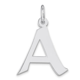 Versil Sterling Silver Medium Artisan Block Initial 'A' Charm 18-inch Chain Necklace