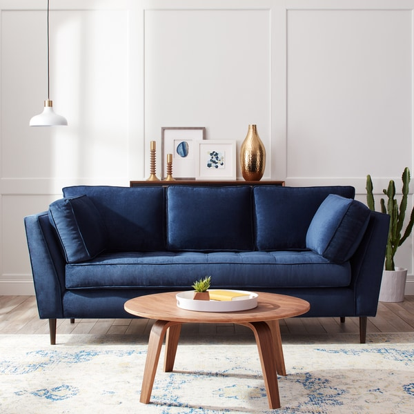 Shop James Mid Century Sonoma Navy Blue Sofa Free Shipping Today