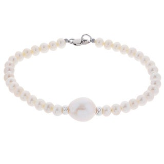 Pearls for You 7.5-inch Sterling Silver White 4-5 millimeter, 9.5-10 millimeter Freshwater Pearl Bracelet