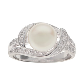 Pearls For You White Sterling Silver White Freshwater Pearl and White Topaz 8-millimeter to 8.5-millimeter Ring